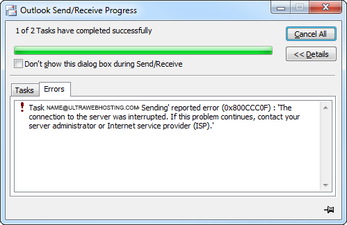 Receiving reported error 0x800ccc0f in Outlook or Livemail.