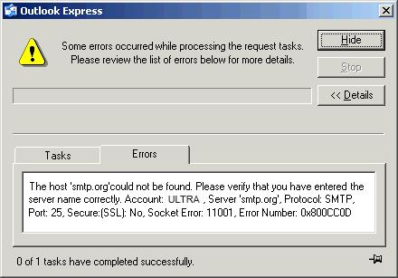 Outlook error 0x800ccc0d